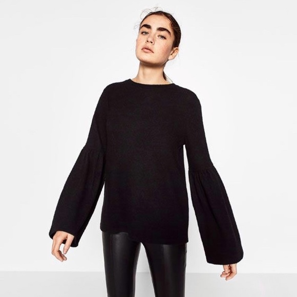 Zara Soft Touch Black Bell Sleeve Sweater Size M